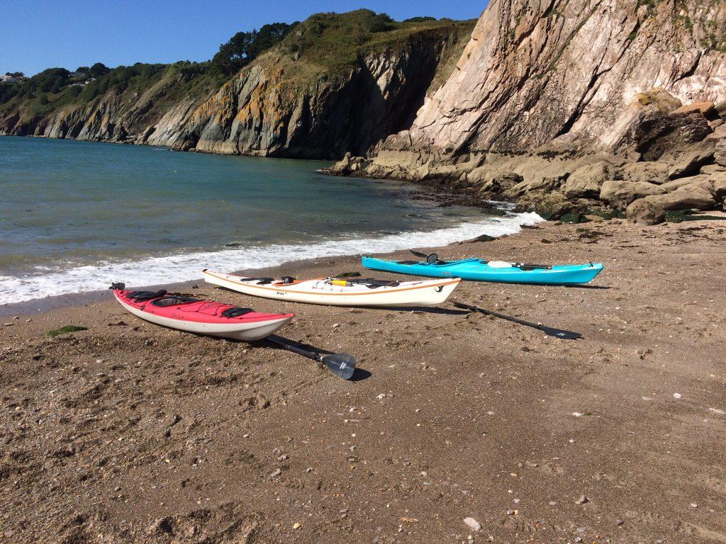 Family sea kayaking holiday Devon Secret beach
