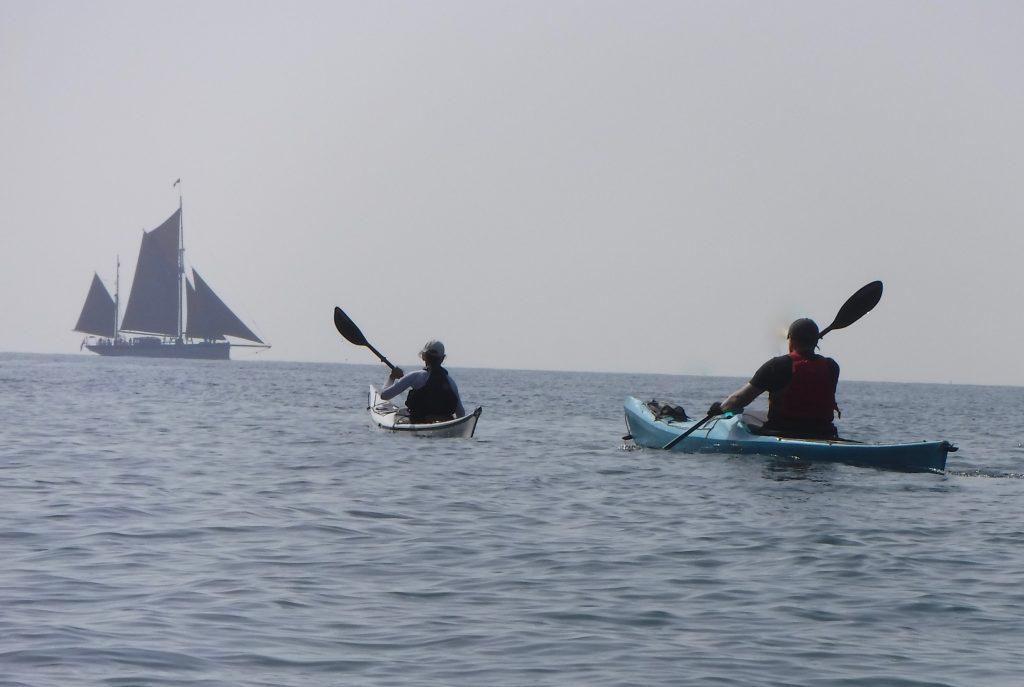 Family sea kayaking holiday Brixham Trawler