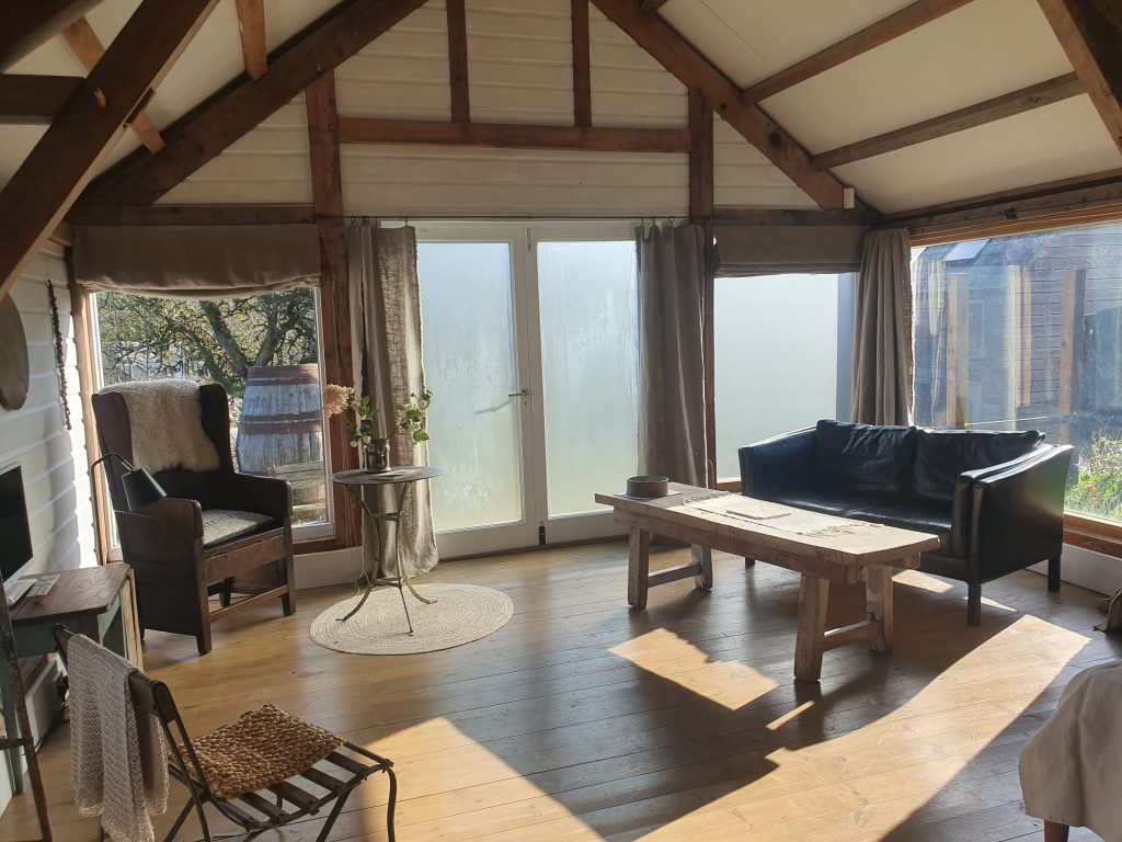Accommodation in weaving studio Sea kayaking holiday for couples in Devon
